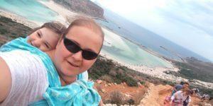 Z trzyletnią Gabrysi a na Balos w Grecji